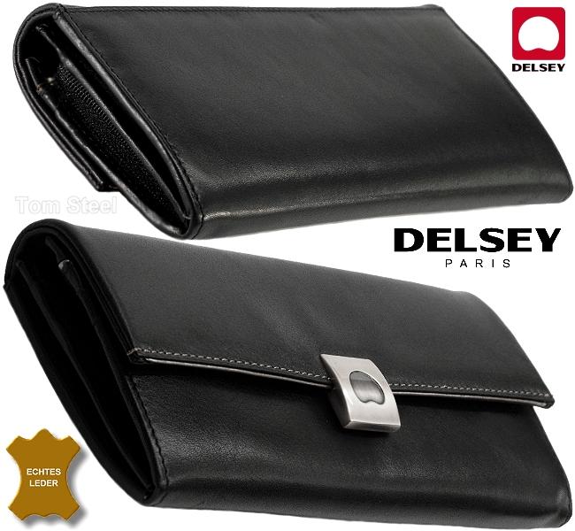 Details about Delsey Women's Wallet Volupte Purse Leather Wallet Black