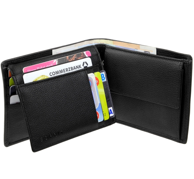 ESPRIT Foc Classic Small City Wallet Geldbörse Black Schwarz Neu